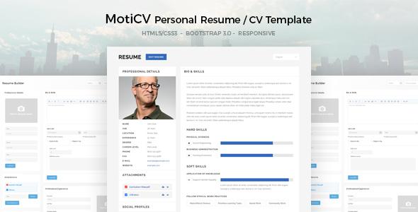 moticv - resume    cv html5 template gratuit